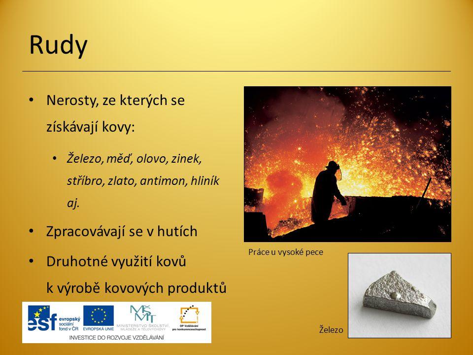 Rudy Nerosty, ze kterých se získávají kovy: Železo, měď, olovo, zinek, stříbro, zlato, antimon, hliník aj. Zpracovávají se v hutích Druhotné využití k