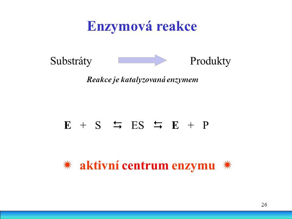 26 Substráty Produkty Enzymová reakce E + S  ES  E + P  aktivní centrum enzymu  Reakce je katalyzovaná enzymem