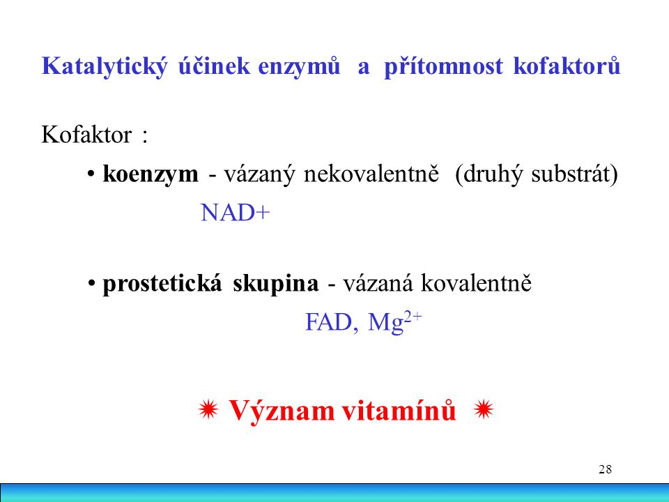 28 Kofaktor : koenzym - vázaný nekovalentně (druhý substrát) NAD+ prostetická skupina - vázaná kovalentně FAD, Mg 2+  Význam vitamínů  Katalytický ú