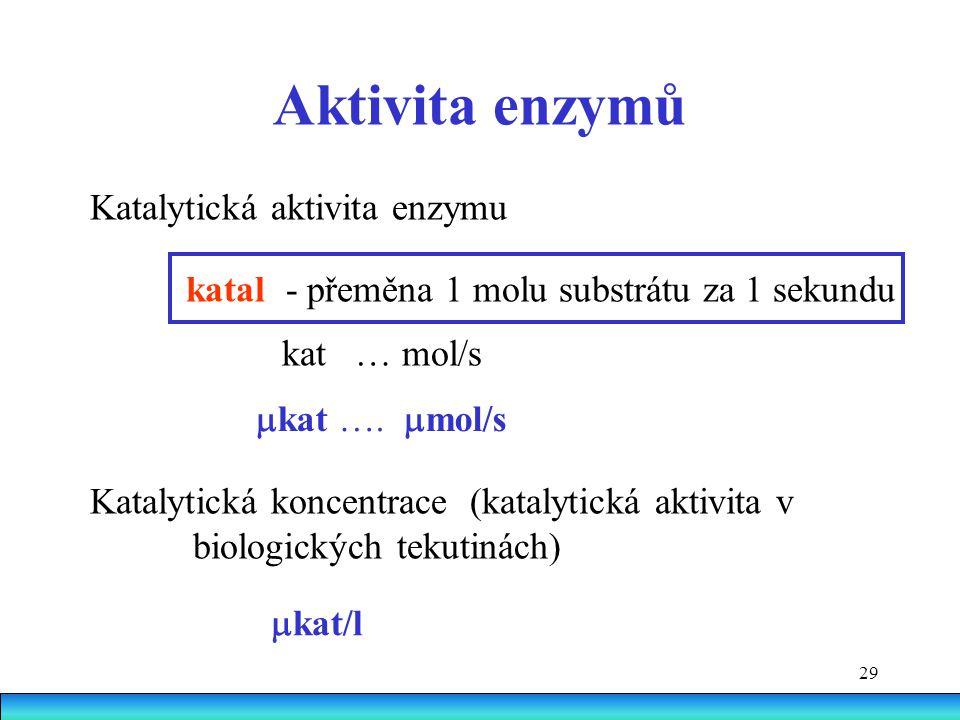 29 Aktivita enzymů Katalytická aktivita enzymu katal - přeměna 1 molu substrátu za 1 sekundu kat … mol/s Katalytická koncentrace (katalytická aktivita