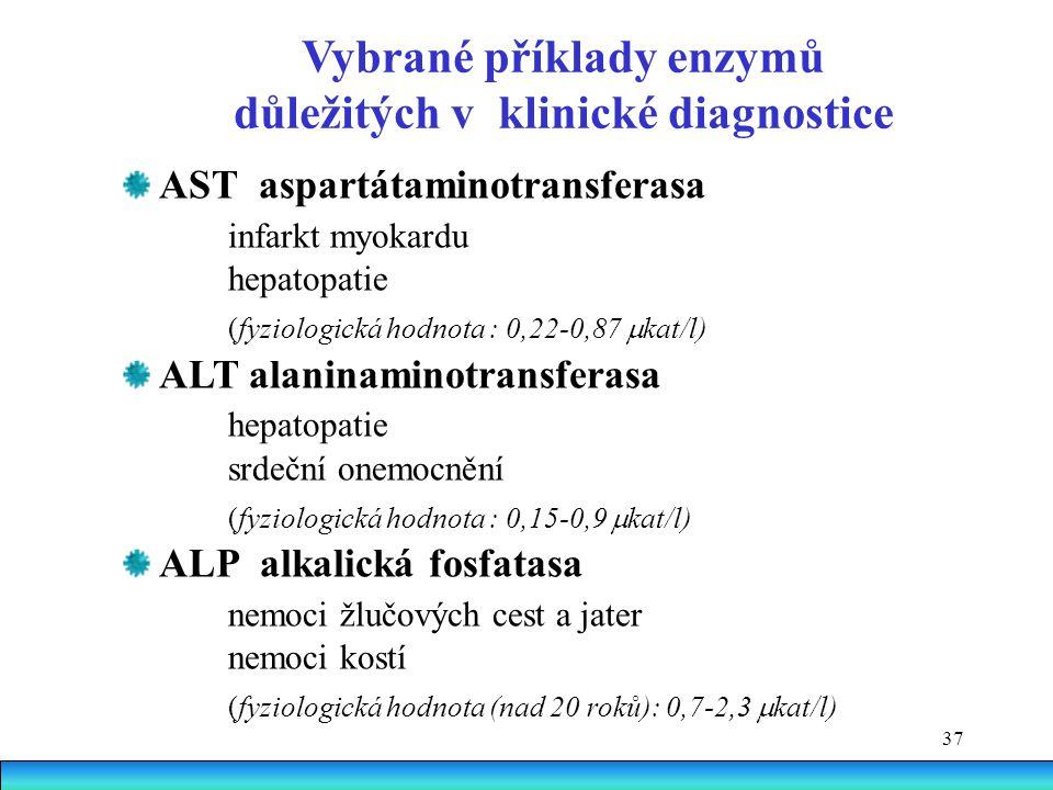 37 AST aspartátaminotransferasa infarkt myokardu hepatopatie (fyziologická hodnota : 0,22-0,87  kat/l) ALT alaninaminotransferasa hepatopatie srdeční