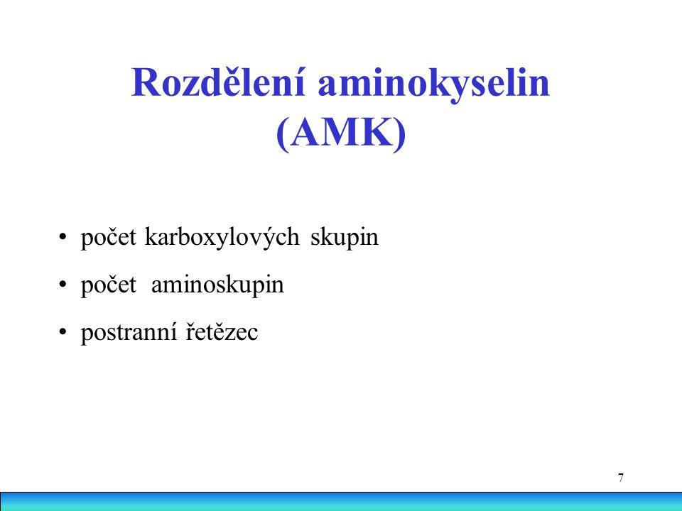 7 Rozdělení aminokyselin (AMK) počet karboxylových skupin počet  aminoskupin postranní řetězec