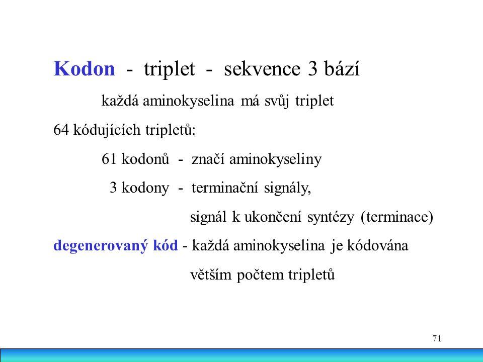 71 Kodon - triplet - sekvence 3 bází každá aminokyselina má svůj triplet 64 kódujících tripletů: 61 kodonů - značí aminokyseliny 3 kodony - terminační