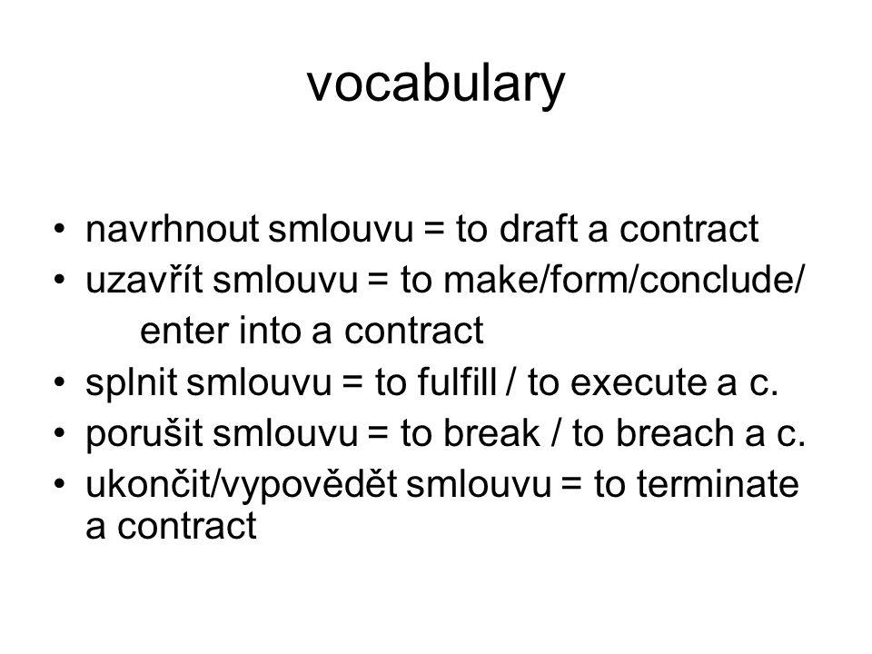 vocabulary smluvní podmínky =