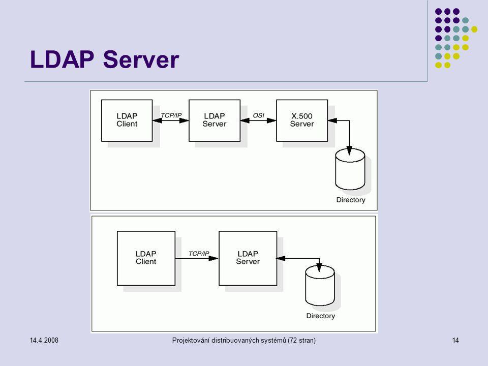 14.4.2008Projektování distribuovaných systémů (72 stran)14 LDAP Server