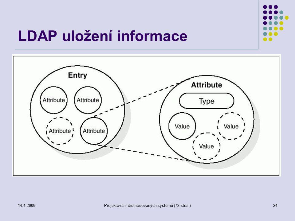 14.4.2008Projektování distribuovaných systémů (72 stran)24 LDAP uložení informace