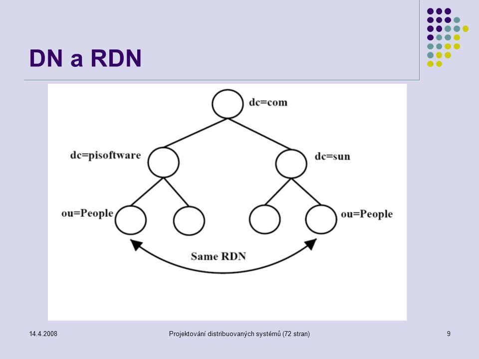 14.4.2008Projektování distribuovaných systémů (72 stran)9 DN a RDN