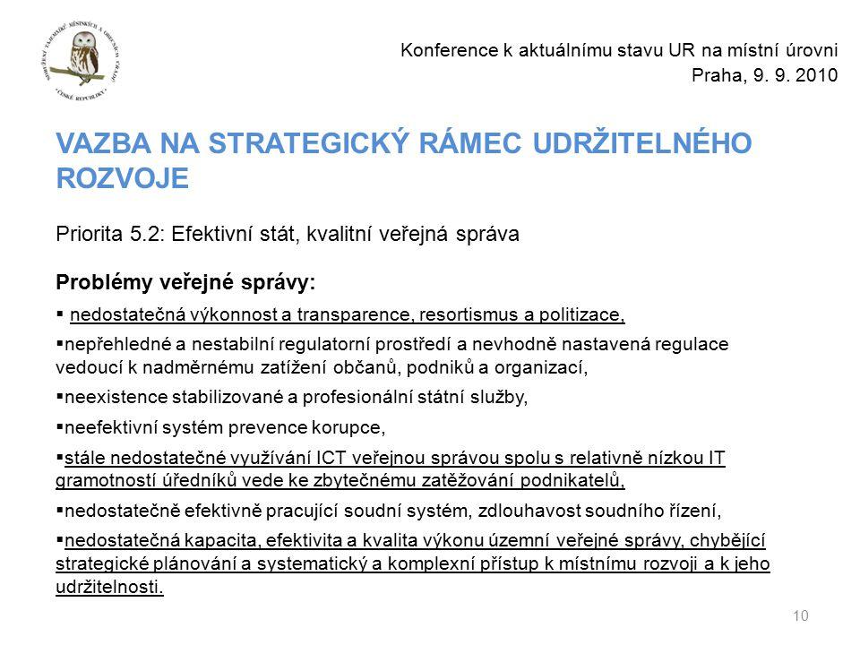 10 Konference k aktuálnímu stavu UR na místní úrovni Praha, 9.