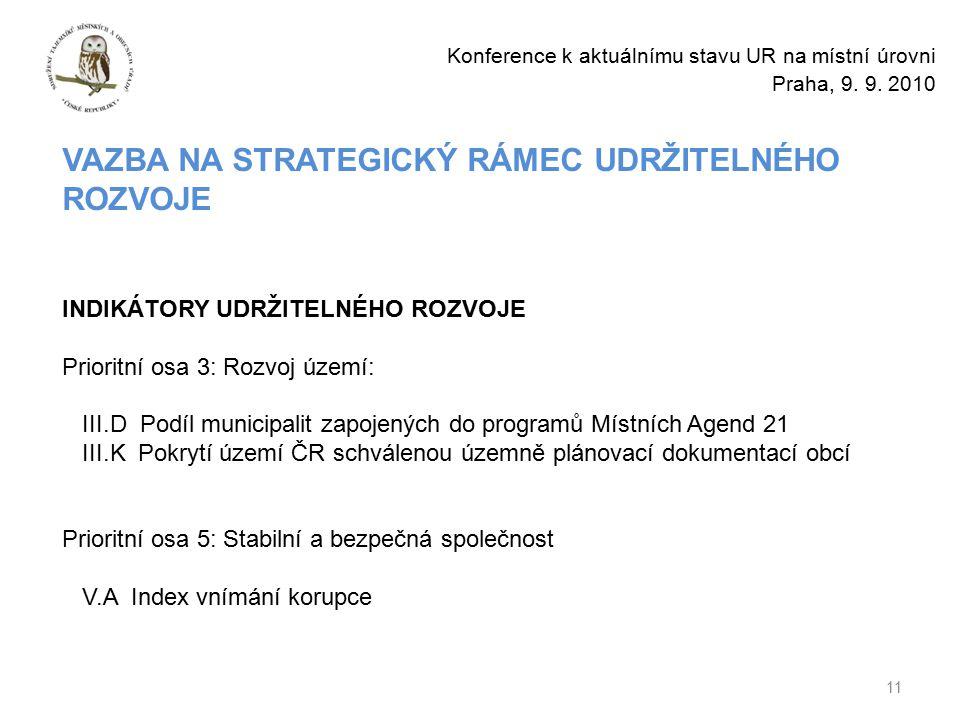 11 Konference k aktuálnímu stavu UR na místní úrovni Praha, 9.