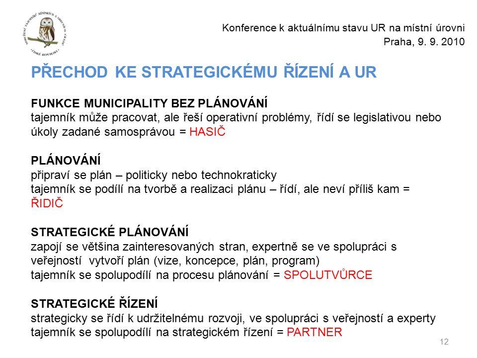 12 Konference k aktuálnímu stavu UR na místní úrovni Praha, 9.