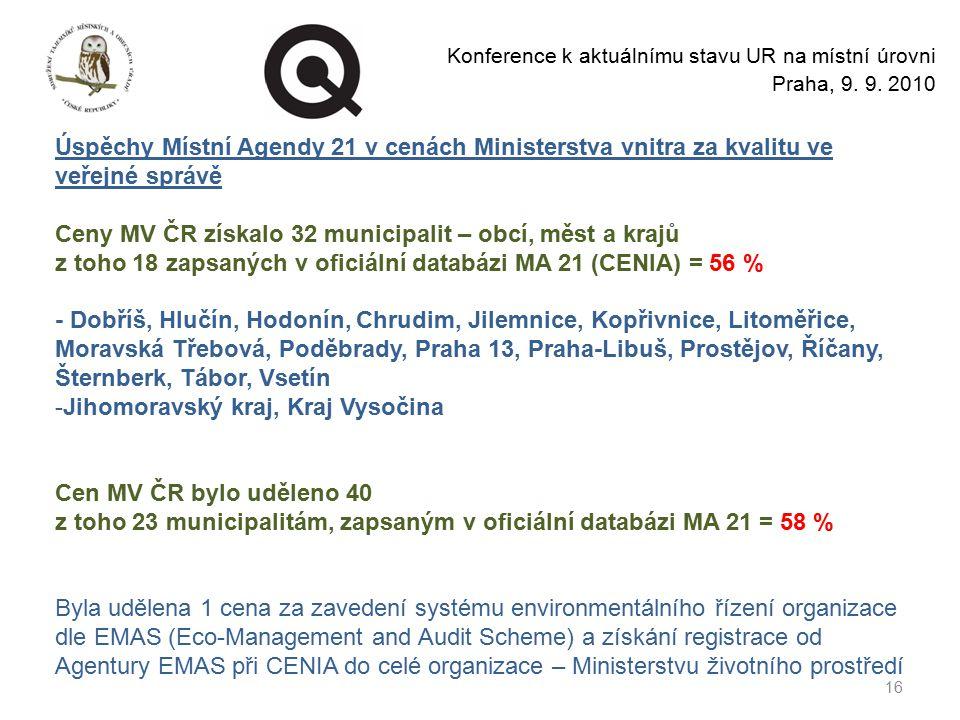 16 Konference k aktuálnímu stavu UR na místní úrovni Praha, 9.