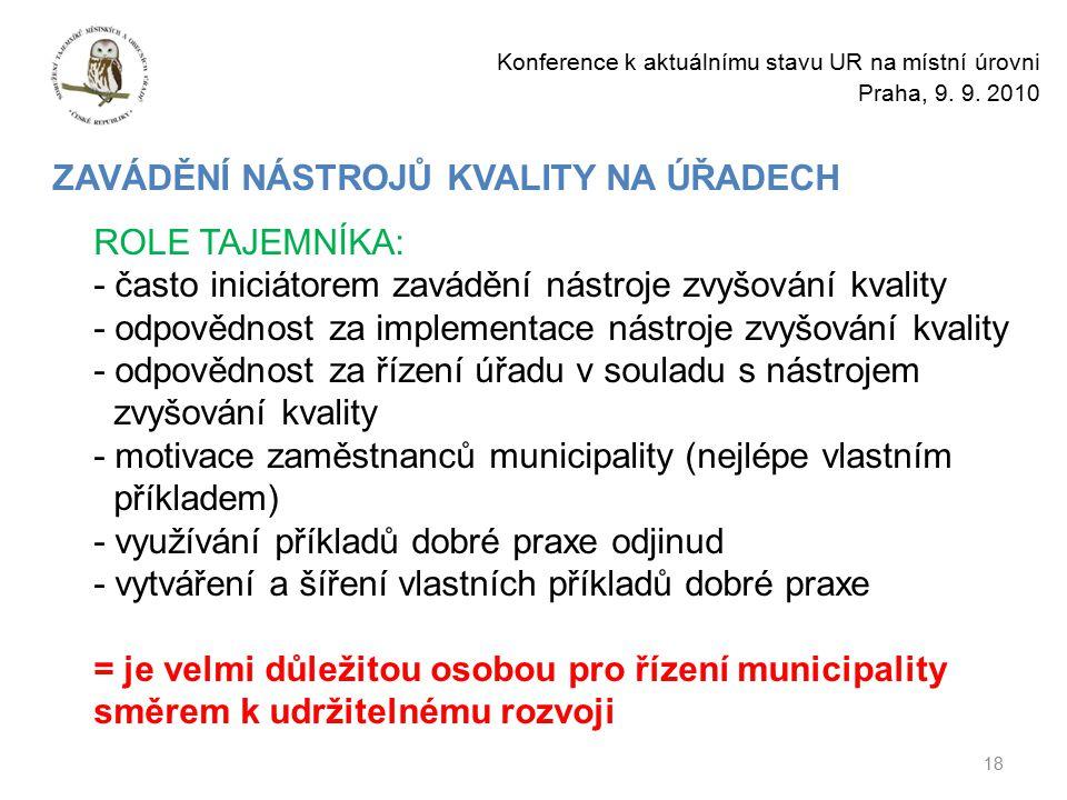 18 Konference k aktuálnímu stavu UR na místní úrovni Praha, 9.