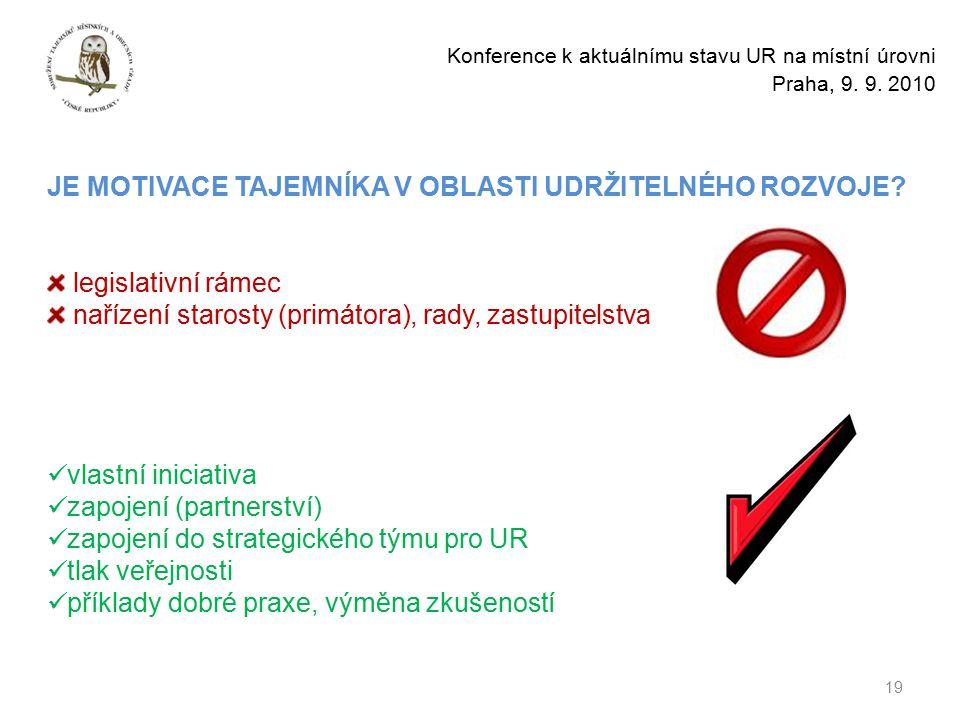 19 Konference k aktuálnímu stavu UR na místní úrovni Praha, 9.