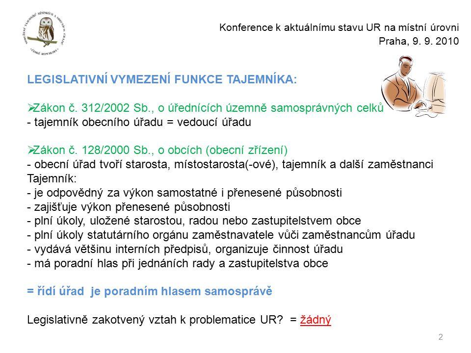 2 Konference k aktuálnímu stavu UR na místní úrovni Praha, 9.