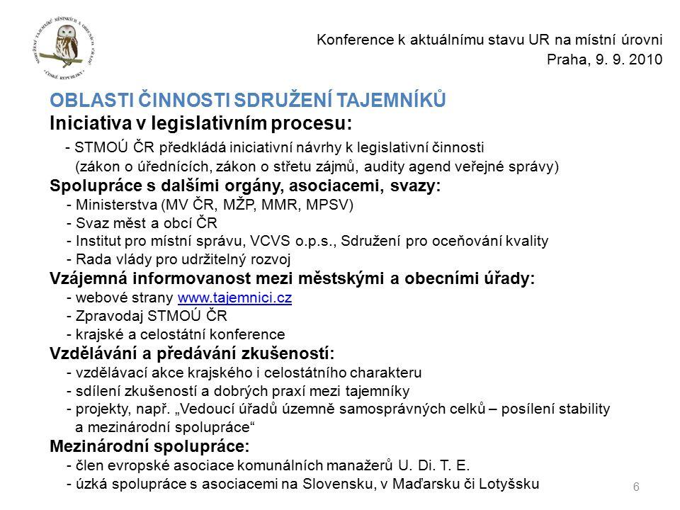 6 Konference k aktuálnímu stavu UR na místní úrovni Praha, 9.