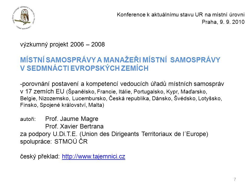 7 Konference k aktuálnímu stavu UR na místní úrovni Praha, 9.