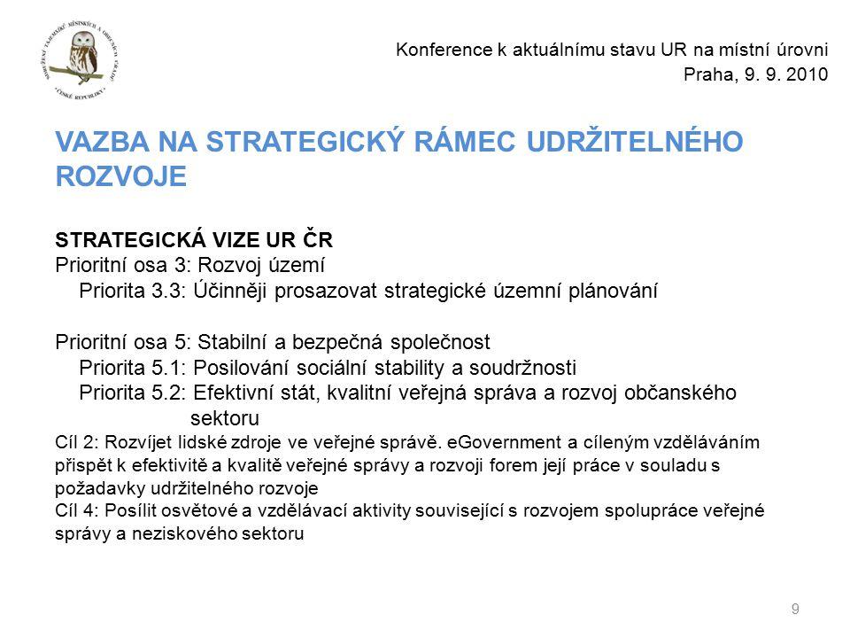 9 Konference k aktuálnímu stavu UR na místní úrovni Praha, 9.