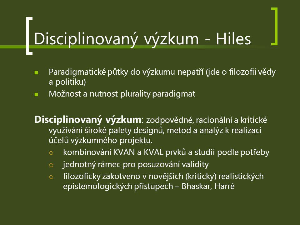 Disciplinovaný výzkum - Hiles Paradigmatické půtky do výzkumu nepatří (jde o filozofii vědy a politiku) Možnost a nutnost plurality paradigmat Discipl