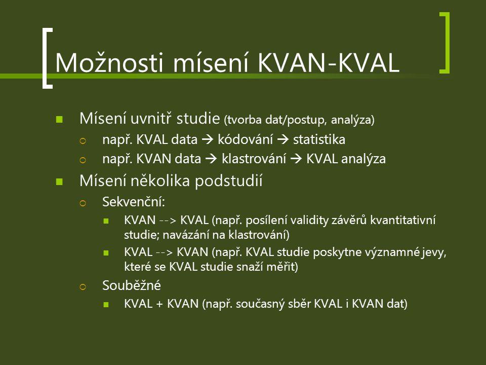 Možnosti mísení KVAN-KVAL Mísení uvnitř studie (tvorba dat/postup, analýza)  např. KVAL data  kódování  statistika  např. KVAN data  klastrování