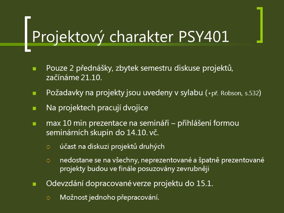 Projektový charakter PSY401 Pouze 2 přednášky, zbytek semestru diskuse projektů, začínáme 21.10. Požadavky na projekty jsou uvedeny v sylabu ( +př. Ro