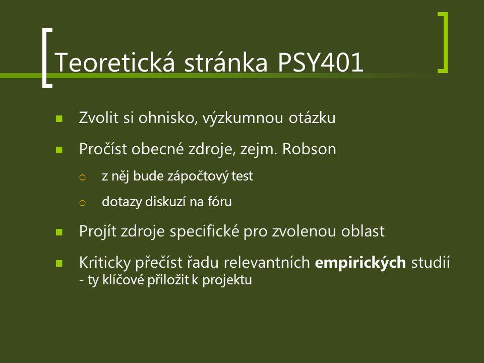 Teoretická stránka PSY401 Zvolit si ohnisko, výzkumnou otázku Pročíst obecné zdroje, zejm. Robson  z něj bude zápočtový test  dotazy diskuzí na fóru