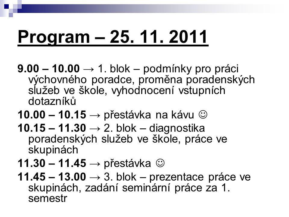 Program – 25.11. 2011 9.00 – 10.00 → 1.