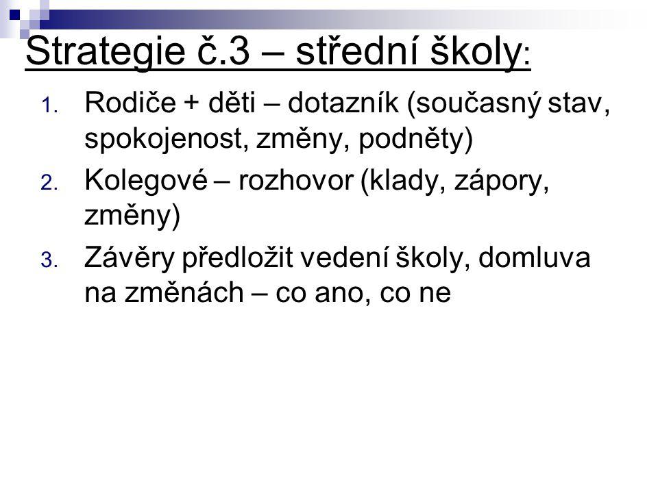 Strategie č.3 – střední školy : 1.