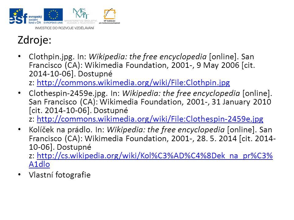 Zdroje: Clothpin.jpg.In: Wikipedia: the free encyclopedia [online].
