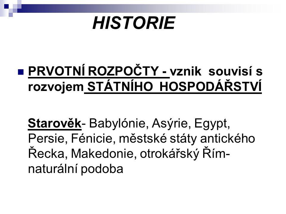 HISTORIE PRVOTNÍ ROZPOČTY - vznik souvisí s rozvojem STÁTNÍHO HOSPODÁŘSTVÍ Starověk- Babylónie, Asýrie, Egypt, Persie, Fénicie, městské státy antickéh