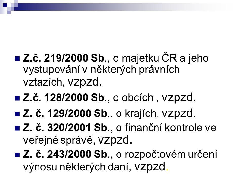Z.č. 219/2000 Sb., o majetku ČR a jeho vystupování v některých právních vztazích, vzpzd. Z.č. 128/2000 Sb., o obcích, vzpzd. Z. č. 129/2000 Sb., o kra
