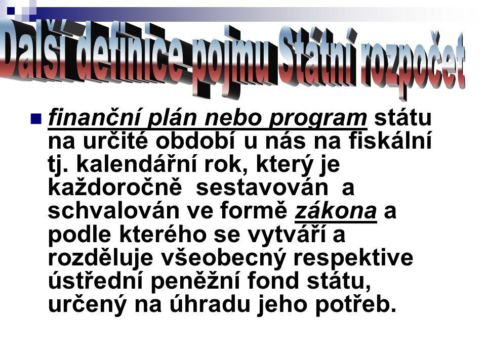 finanční plán nebo program státu na určité období u nás na fiskální tj. kalendářní rok, který je každoročně sestavován a schvalován ve formě zákona a
