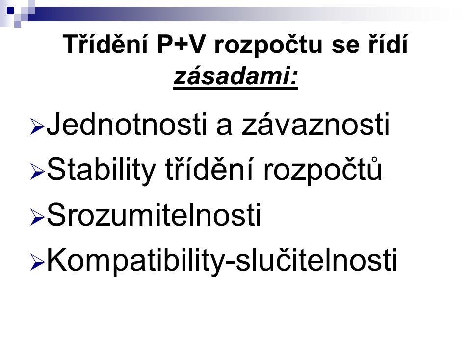 Třídění P+V rozpočtu se řídí zásadami:  Jednotnosti a závaznosti  Stability třídění rozpočtů  Srozumitelnosti  Kompatibility-slučitelnosti