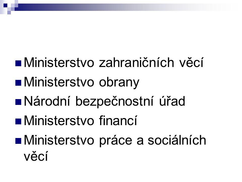 Ministerstvo zahraničních věcí Ministerstvo obrany Národní bezpečnostní úřad Ministerstvo financí Ministerstvo práce a sociálních věcí