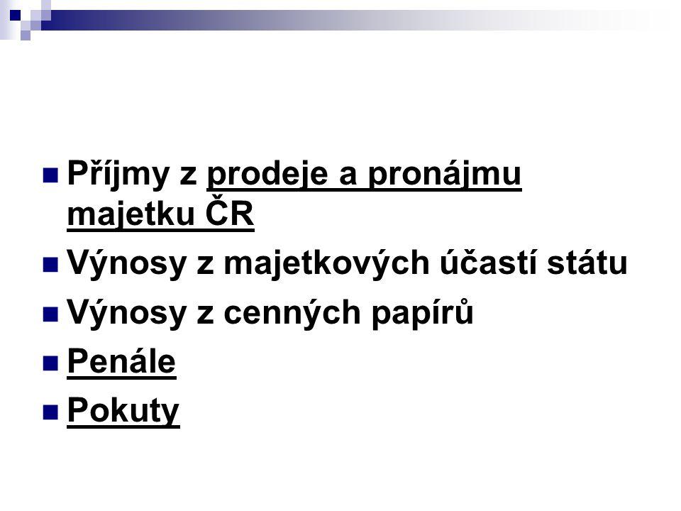 Příjmy z prodeje a pronájmu majetku ČR Výnosy z majetkových účastí státu Výnosy z cenných papírů Penále Pokuty