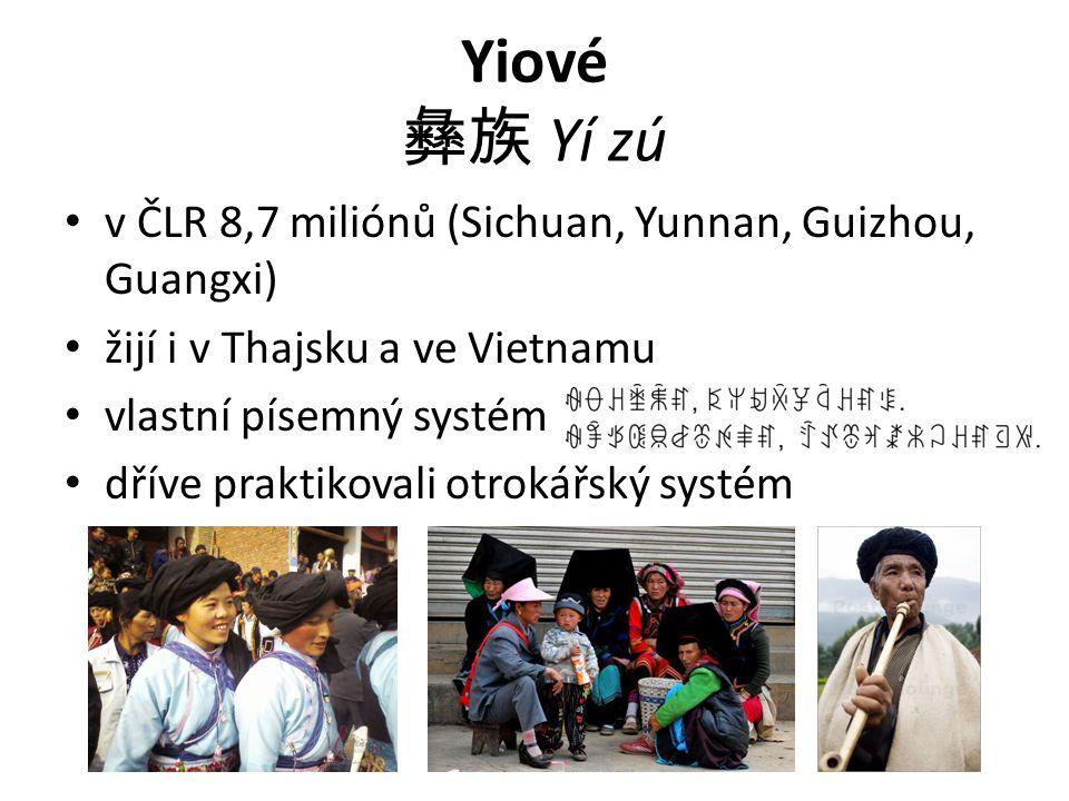 Yiové 彝族 Yí zú v ČLR 8,7 miliónů (Sichuan, Yunnan, Guizhou, Guangxi) žijí i v Thajsku a ve Vietnamu vlastní písemný systém dříve praktikovali otrokářs