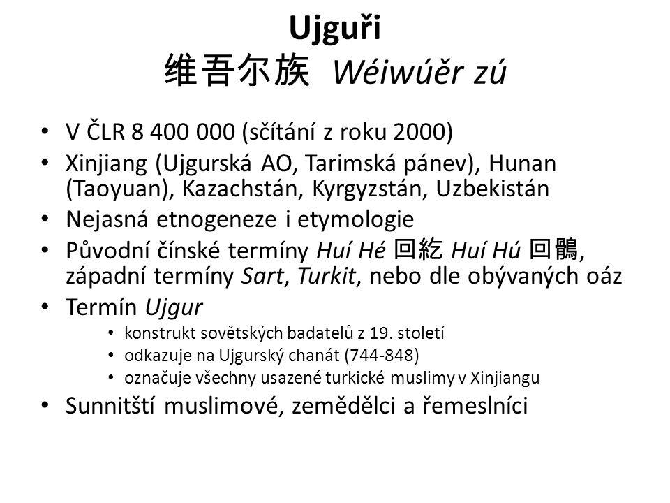 Ujguři 维吾尔族 Wéiwúěr zú V ČLR 8 400 000 (sčítání z roku 2000) Xinjiang (Ujgurská AO, Tarimská pánev), Hunan (Taoyuan), Kazachstán, Kyrgyzstán, Uzbekist
