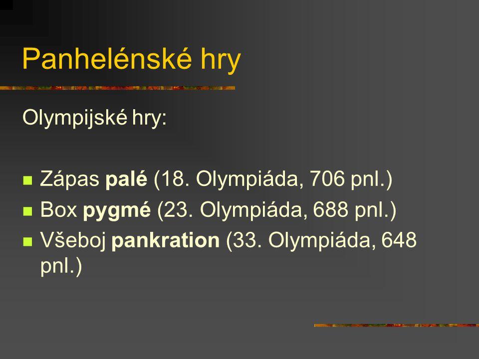 Panhelénské hry Olympijské hry: Zápas palé (18.Olympiáda, 706 pnl.) Box pygmé (23.