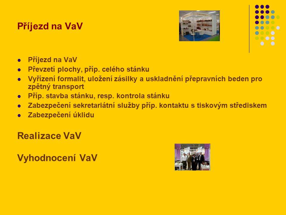 Příjezd na VaV Převzetí plochy, příp. celého stánku Vyřízení formalit, uložení zásilky a uskladnění přepravních beden pro zpětný transport Příp. stavb