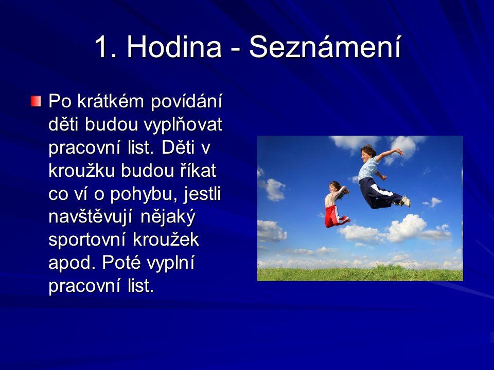 1.Hodina - Seznámení Po krátkém povídání děti budou vyplňovat pracovní list.
