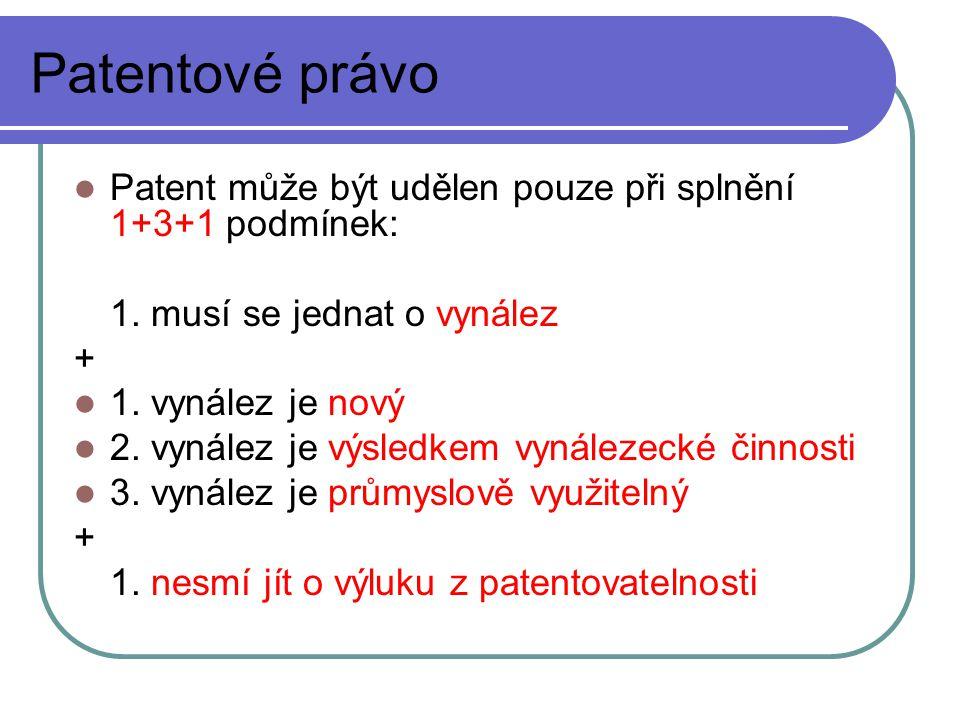 Patentové právo Patent může být udělen pouze při splnění 1+3+1 podmínek: 1.