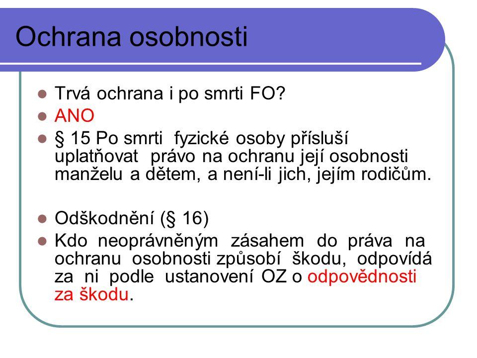 Ochrana osobnosti Trvá ochrana i po smrti FO.
