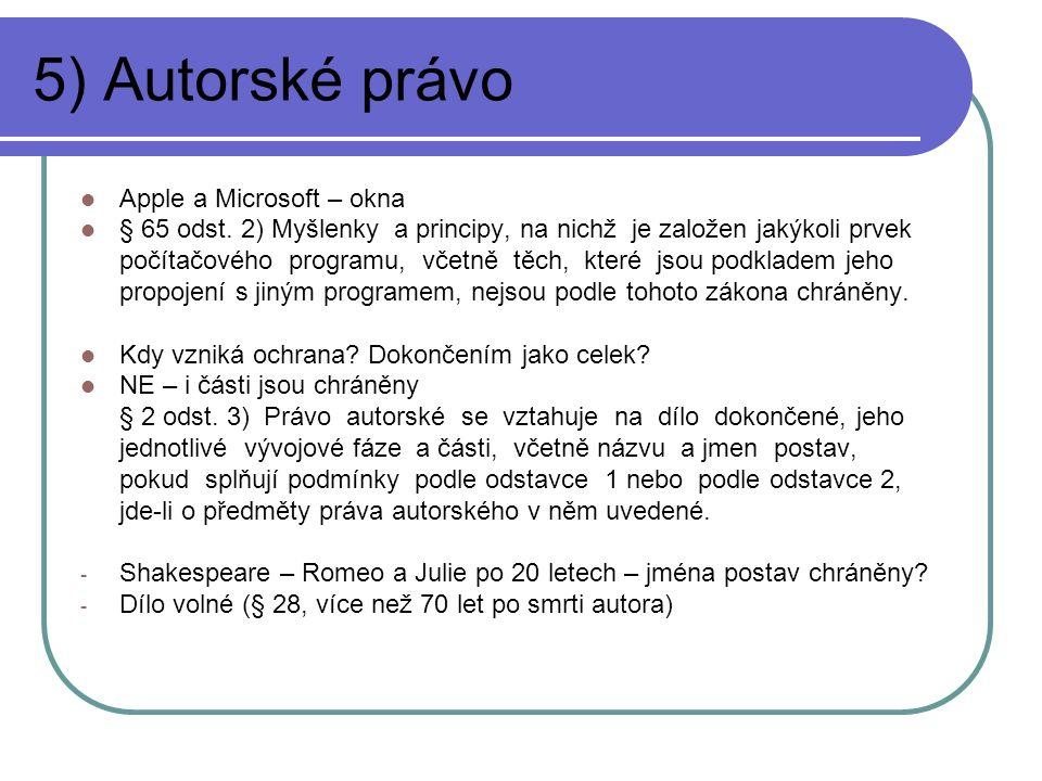 5) Autorské právo Apple a Microsoft – okna § 65 odst.