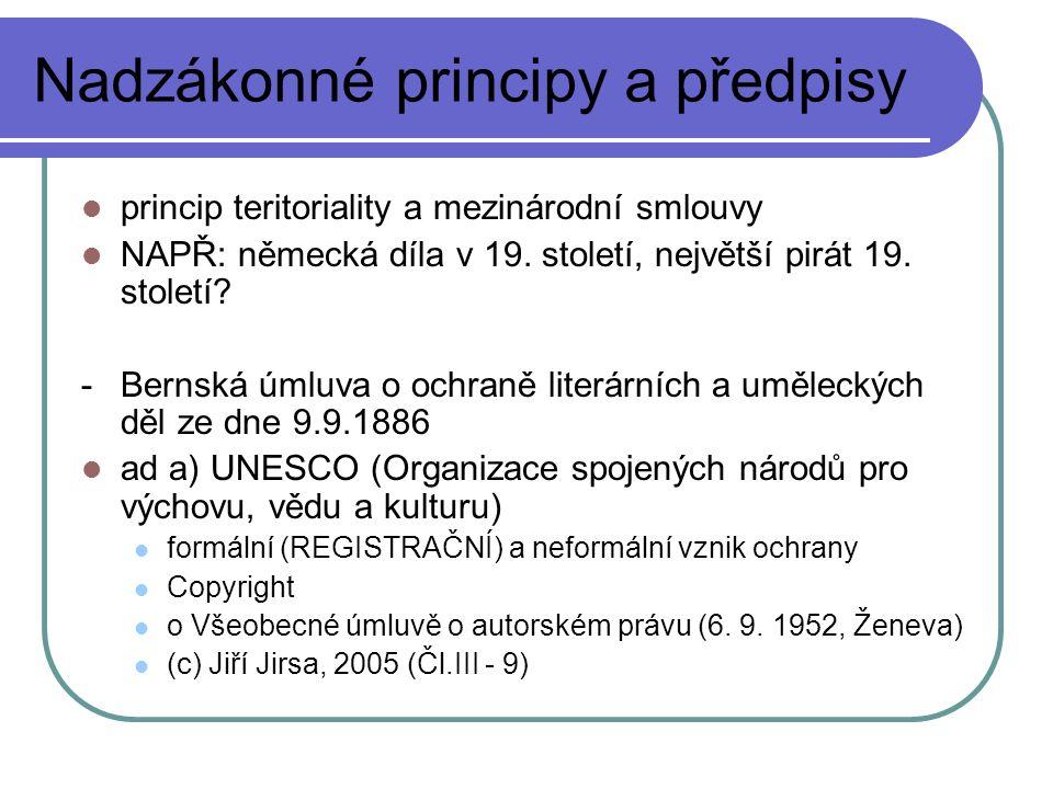 Domény - soukromoprávní vztah při udělení domény - princip priority je nabourán jinými udělenými právy - úprava obchodní firmy a ochranné známky platí i pro tuto oblast - CZ NIC - nekalá soutěž – dobré mravy soutěže; dobrá víra - předběžné opatření - www.tina.cz www.tina.cz - a) název PO – obchodní firma, název města, o.s.