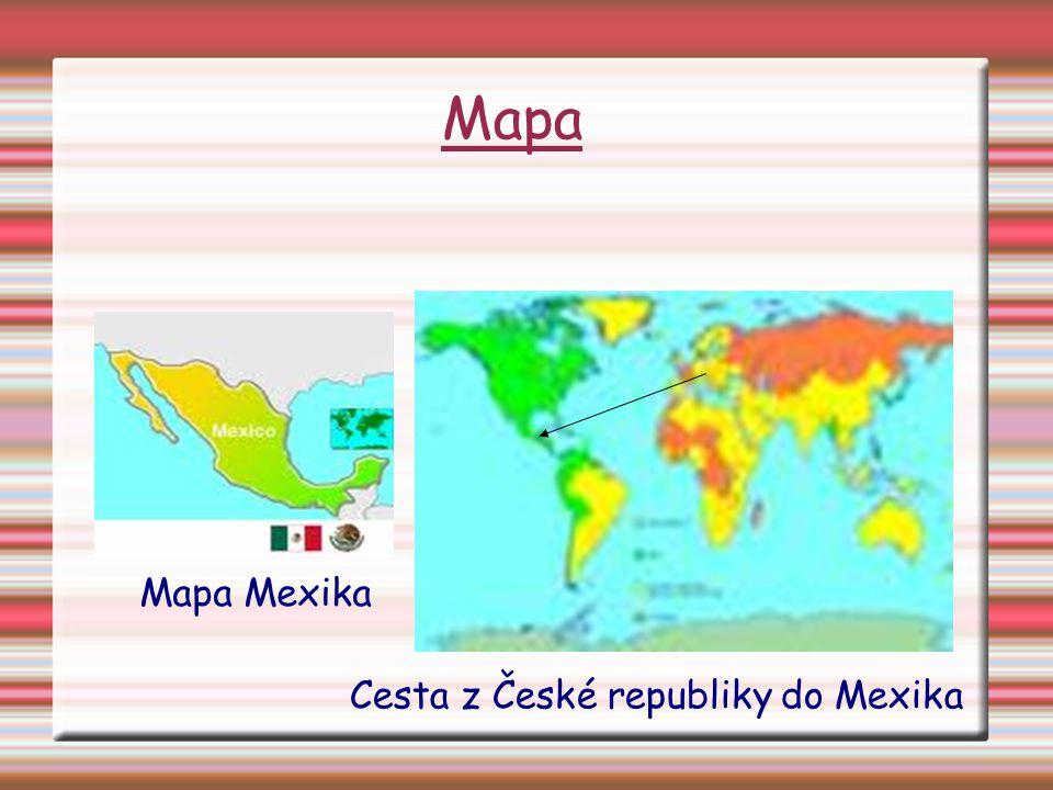 Mapa Cesta z České republiky do Mexika Mapa Mexika