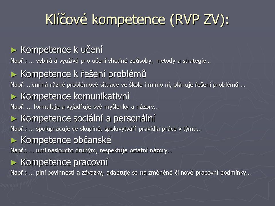Klíčové kompetence (RVP ZV): ► Kompetence k učení Např.: … vybírá á využívá pro učení vhodné způsoby, metody a strategie… ► Kompetence k řešení problé