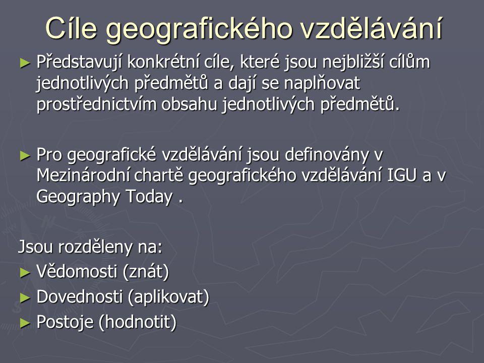 Cíle geografického vzdělávání Cíle geografického vzdělávání ► Představují konkrétní cíle, které jsou nejbližší cílům jednotlivých předmětů a dají se n