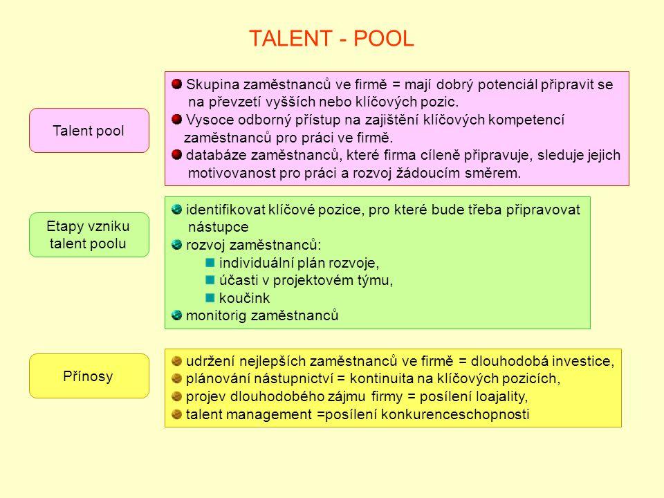 TALENT - POOL Talent pool Skupina zaměstnanců ve firmě = mají dobrý potenciál připravit se na převzetí vyšších nebo klíčových pozic. Vysoce odborný př