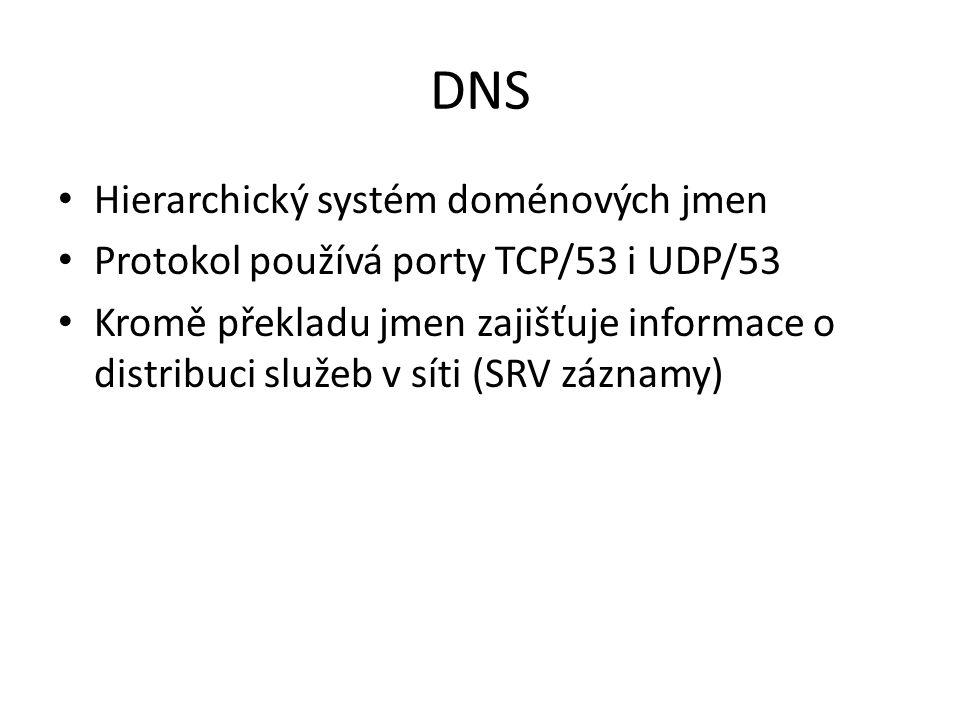 DNS nejčastější typy záznamů host – address (A) -běžný záznam, překlad jména na IP adresu počítače alias – canonical name (CNAME) -další jméno (alias) pro existující záznam v doméně mail exchanger (MX) - adresa poštovního serveru service location (SRV) - adresa některé služby, jako ldap, kerberos, ftp, a další name server (NS) - seznam serverů, které zajišťují DNS služby pro doménu, záznam se nachází v nadřízené doméně a v aktuální doméně pointer (PTR) - užívá se pro reverzní překlad IP -> host start of authority (SOA) - odkazuje na server, kde jsou primární údaje (primární NS)