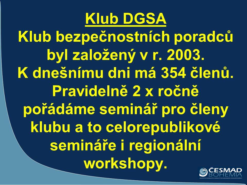 Klub DGSA Klub bezpečnostních poradců byl založený v r. 2003. K dnešnímu dni má 354 členů. Pravidelně 2 x ročně pořádáme seminář pro členy klubu a to