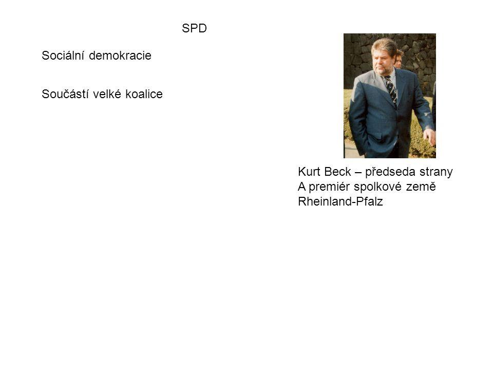 SPD Sociální demokracie Kurt Beck – předseda strany A premiér spolkové země Rheinland-Pfalz Součástí velké koalice
